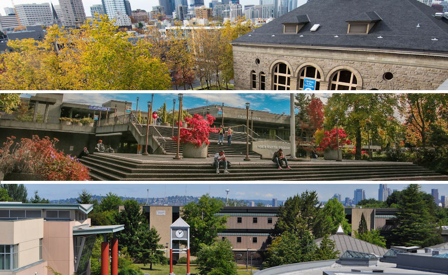 The campuses of Seattle Colleges -- Central, North, and South