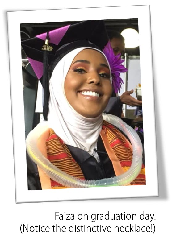 Faiza Mohamed at her 2019 graduation