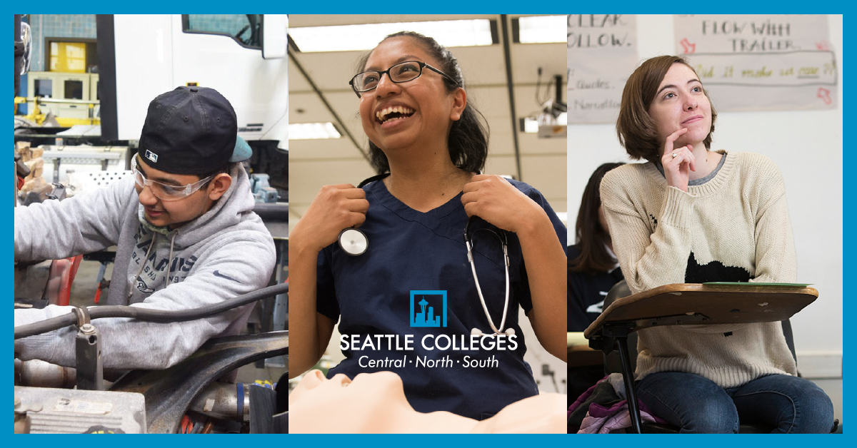 Students in Seattle Colleges Diesel Engine Repair, Respiratory Therapy, and Early Education programs.